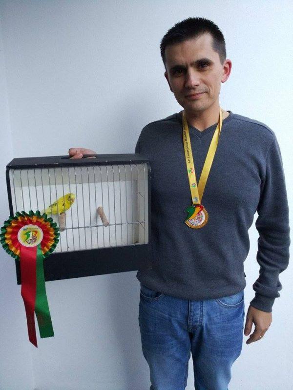 Vasco Duarte e periquito arlequim verde campeão do mundo